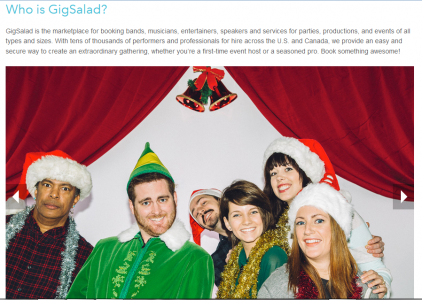 User Experience Design Example Gig Salad