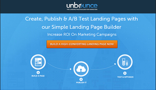 light colored background call to action from Unbounce
