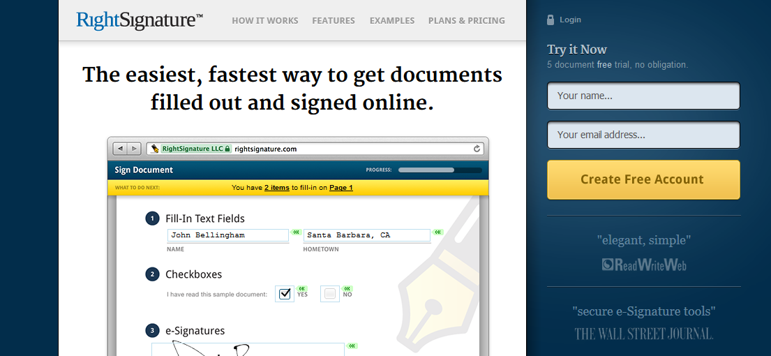 Right Signature's landing page headline with benefits