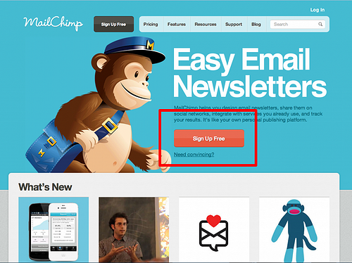 sign up free - mailchimp