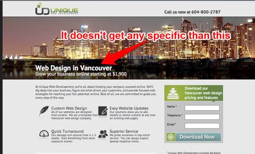 unique web design's headline is specific